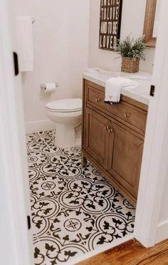 modern farmhouse master bathroom renovation with delta 38 ~ Home Design Ideas Bathroom Floor Tiles, Downstairs Bathroom, Bathroom Renos, Bathroom Black, Tile Floor, Bathroom Modern, Wood Bathroom, Small Bathroom Ideas, Bathroom Remodeling