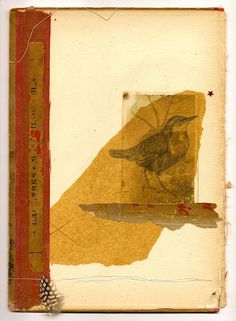 Mixed media on vintage book cover: colored pencil drawing on tissue, vintage photo & ephemera, string, feather, 7.5 x 10 inches ~   Artist Shelley Kommers  #journal  #mytumblr
