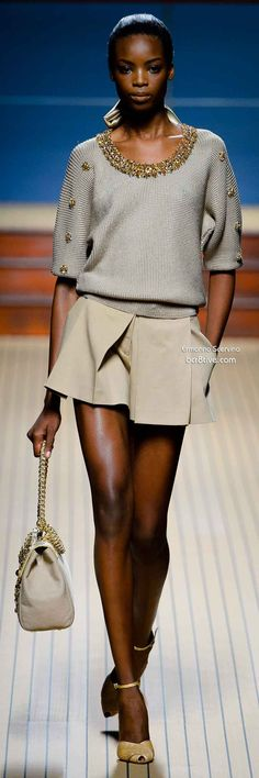 Ermanno Scervino Spring 2014--love the big buttons/sequins on the sleeves and band around the neck--utilitarian to top fashion-  so easy with bugle beads or trim!!