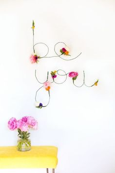 Gorgeous DIY floral and wire words
