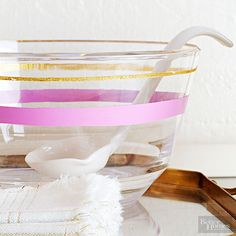 Add shimmer to a serving bowl in a few simple steps: http://www.bhg.com/decorating/do-it-yourself/quick-and-easy-projects/glitter-projects/?socsrc=bhgpin051615glitterbowl&page=2