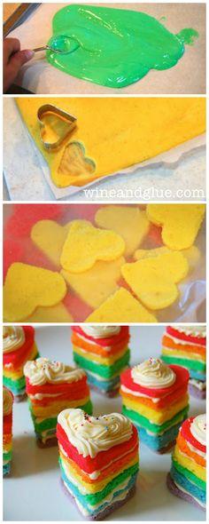 Rainbow Cake | www.wineandglue.com | Individual Rainbow Cakes shaped like hearts!