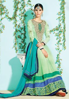 """Unique !""""Green #Georgette kameez designed with Zari,Resham Embroidery with stone work,patch patta Work. Available with Green #Santoon Bottom with matching #Chiffon Dupatta.  With exciting Flat 30% discount! INR :-4249"""