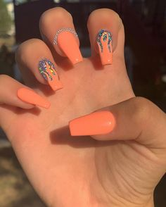 In search for some nail designs and ideas for your nails? Listed here is our listing of must-try coffin acrylic nails for fashionable women. Summer Acrylic Nails, Best Acrylic Nails, Nail Summer, Acrylic Nails Orange, Acrylic Nail Designs For Summer, Summer Stiletto Nails, Pointy Nails, Orange Nails, Spring Nails