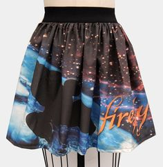 """Serenity in Space Full Skirt - For all those 'Firefly' fans, this skirt includes the ship Serenity and the opening song lyric """"but you can't take the sky from me"""". My daughter would love this!"""