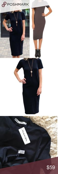 """MICHAEL STARS Crew Short Sleeve Midi T-Shirt Dress MICHAEL STARS    Crew Neck Short Sleeve Midi T-Shirt Dress     RETAIL PRICE: $120     NWT     SIZE: M     COLOR: Black    o  FABRIC: 94% cotton , 6% lycra The Perfect LBD in a supersoft cotton with just the right amount of stretch and weight to give an allover flattering look. Dress it up with sky high heels or dress it down with sneakers and a denim jacket.   SOLD AT ANTHROPOLOGIE, REVOLVE, NORDSTROM      MADE IN THE U.S.A.    length: 47""""…"""