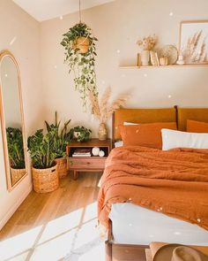Warm Bedroom, Bedroom Decor, Bedroom Wall, Bedroom Ideas, Master Bedroom, Best Plants For Bedroom, Studio Decor, Studio Apartment Decorating, Cozy Room