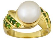 9-10mm White Cultured Freshwater Pearl & Chrome Diopside .68ctw 18k Yellow Gold Over Sterling Ring (FBP021)