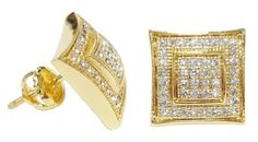 Ice Yellow Gold CZ Square Kite Stud Earrings