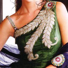 Salwar Kameez:R19P202 | Shaded Green  Blue Combination Anarkali Pattern Salwar Kameez