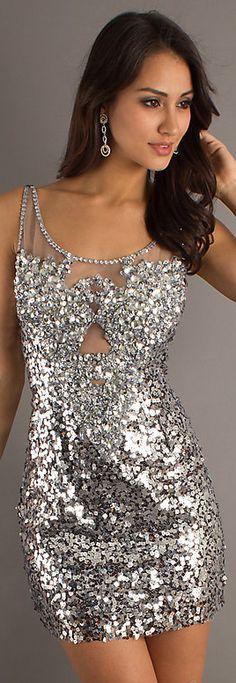 Sexy mini dress #silver #glitter
