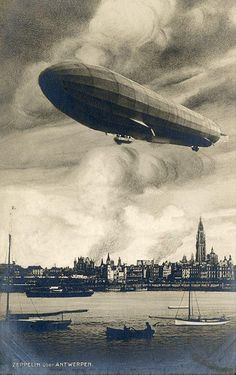 first air raid ever: a German Zeppelin bombarded the city of Antwerp [Belgium] in the night of 24 to 25 August at the beginning of the First World War. In the foreground the large cigar form of the challenged Zeppelin, in the background the burning city. World War One, First World, Zeppelin, Old Pictures, Old Photos, Burning City, Antwerp Belgium, Air Raid, Military History
