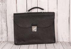 Vintage briefcase 1970s leather black bag Large professor portfolio Laptop Black school bag Home decor Gift Idea
