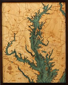 Art WoodChart's beautiful map of Chesapeake Bay. A nautical wood map of the Chesapeake Bay regio 3d Laser, Laser Cut Wood, Laser Cutting, Lake Art, Nautical Chart, Chesapeake Bay, Underwater World, Boat Plans, Fotografia