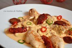 Les recettes de Nathou: Aiguillettes de poulet, sauce crémeuse au chorizo Sauce Crémeuse, Weekly Menu, Poultry, Tapas, Mashed Potatoes, Curry, Food And Drink, Meat, Chicken
