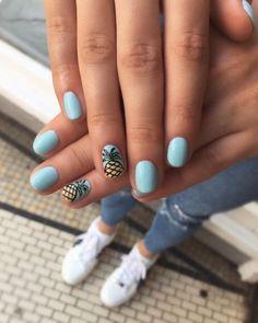 sky blue pineapple nails - The most beautiful nail designs Bright Summer Nails, Cute Summer Nails, Spring Nails, Summer Beach Nails, Summer Vacation Nails, Vacation Nail Art, Summer Nail Art, Beach Holiday Nails, Summer Gel Nails
