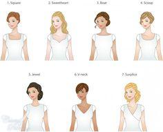Which neckline should I put on my dress? types of necklines for modest wedding dresses Wedding Dresses Lds, Wedding Dress Types, Wedding Dress Necklines, Necklines For Dresses, Different Necklines, Fashion Terms, Fashion Quiz, Fashion Fashion, Fashion Ideas