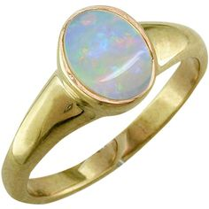EWA 9ct Yellow Gold Oval Ring, Opal (67.040 ISK) ❤ liked on Polyvore featuring jewelry, rings, gold jewellery, oval stone ring, gold jewelry, band jewelry and opal ring