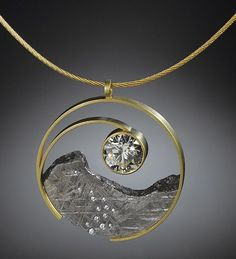 Yin Yang pendant of diamond and Gibeon meteorite in 18k gold by Jacob Albee (finalist in 2015 Niche Awards)