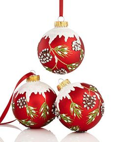 Kurt Adler Christmas Ornaments, Set of 3 Pine Cone Balls - Christmas Ornaments - Holiday Lane - Macy's