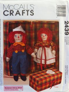 """McCall's 2439 20"""" Raggedy Ann and Andy™ Dolls With Carrying Case"""