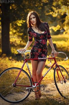 bike and a lovely lady.