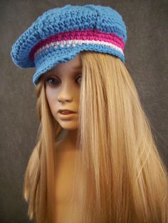 Pink Blue & White Crochet Newsboy Cap/Toddler/ 100 by UniquelyEwe