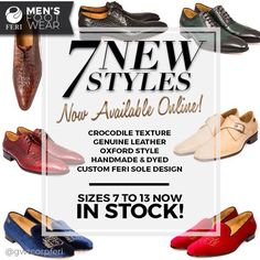 NEW PRODUCT RELEASE: 7 New Styles have finally arrived for the FERI Men's Footwear Collection! Men's Footwear, New Product, Crocodile, Leather, Handmade, How To Wear, Shopping, Collection, Shoes