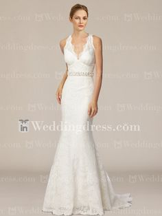 Lace Trumpet Bridal Gown with Keyhole Back  http://www.inweddingdress.com/style-bc415.html