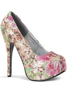 """Women's """"Teeze"""" Pumps by Bordello (Floral) #Inkedshop #pumps #shoes #floral #floralheels #heels"""