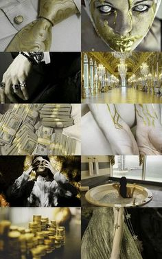 7 deadly sins: Greed aesthetic (x) Story Inspiration, Color Inspiration, Character Inspiration, Angel Aesthetic, Gold Aesthetic, Vanitas, Types Of Angels, Mythological Characters, 7 Sins
