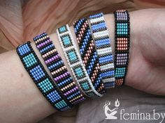 SPUNKYsoul Bohemian Multi-Colored Beaded Cuff Bracelets for Women Collection (Teal/Red/Cube) – Fine Jewelry & Collectibles Loom Bracelet Patterns, Bead Loom Bracelets, Bead Loom Patterns, Bracelet Set, Beading Patterns, Bead Jewellery, Diy Jewelry, Beaded Jewelry, Loom Beading