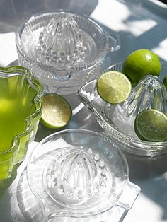 Vintage Glass Lemon Squeezers- Christine you could have a Margharita Table he he he