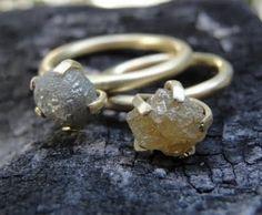 rough uncut diamond ring. unique, simple elegance!