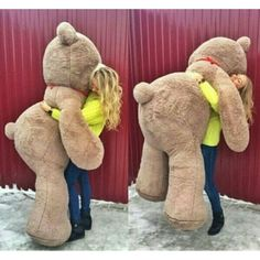 A round comfortable man or a teddy bear... You pick which one you want to hug, but it looks like this girl is happy with her stuffed bear.  (OED)