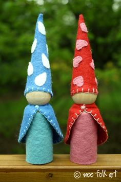 Large Gnomes for Little Hands | Wee Folk Art Tutorial...check out their other tuts...sleeping bags for the gnomes, lots of other goodies
