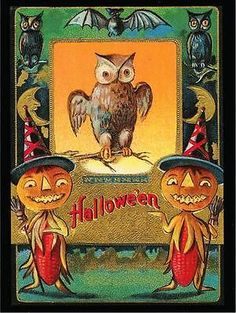 Halloween-Owl-and-Corn-Witches-Repro-Postcard-114