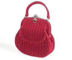 Roberta de Camerino Red Cut Velour Bag