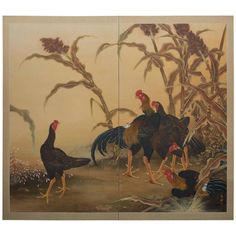 Japanese Two Panel Screen: Japanese Chickens (Shamo Breed) 1