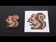 How to Make a Cute Perler Bead Squirrel with Bow - YouTube