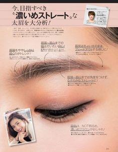 濃い眉さんは髪の色と同じか濃いめブラウンなどの 自然なボリューム感を出す パウダータイプのアイブロウを選ぶと引き締まります。 ①眉頭から眉尻まで太さはだいたい同じ。眉尻をややフェードアウトする気持ちで ②眉頭をややしっかりめに描き、角度をつけずないでなだらかなストレートにする プラス眉マスカラを乗せることで ナチュラルで濃い太眉が完成。