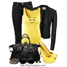 Black and Yellow, created by dlp22 on Polyvore