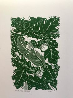 Acorns and oak leaves lino print. | Etsy English Gifts, Type Fonts, Acorn And Oak, Oak Leaves, A4 Paper, Art Pages, Leaf Prints, Sketchbooks, Art Inspo