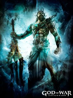 Poseidon is one of the many Gods of Olympus who Kratos has defeated in his way to get revenge on the gods. He appears in Playstation All-Stars Battle Royale as a Minion. Poseidon is second only in eminence to his brother, Zeus. Greek Mythology Tattoos, Greek Mythology Gods, Greek Gods And Goddesses, Roman Mythology, Kratos God Of War, Poseidon Tattoo, Rome Antique, New Gods, Mythical Creatures