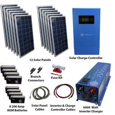 Large off grid solar kit for home, business or any remote location needing power. Watt Inverter Charger and batteies. Solar Power Energy, Solar Energy System, New Energy, Solar Energy Panels, Best Solar Panels, Solar Panel Inverter, Solar Roof Tiles, Solar Projects, Solar Panel Installation