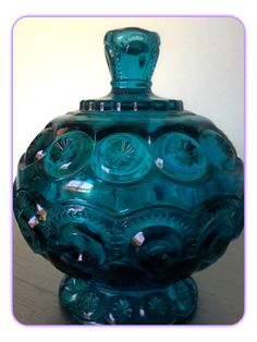 Mid Century L.E. Smith Turquoise Glass Covered Candy Dish Moon and Stars Pattern/Vintage Aqua Glass Compote with Lid by SparkleSet on Etsy