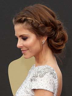 50 Gorgeous Party Hair ideas for New Year's Eve - braided chignon updo Celebrity Wedding Hair, Wedding Hair And Makeup, Bridal Hair, Hair Makeup, Celebrity Weddings, Holiday Hairstyles, Up Hairstyles, Pretty Hairstyles, Wedding Hairstyles