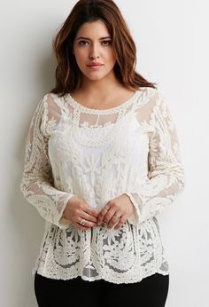 I really need this cute top. I hope it wont be too small. PLus size Ornate Embroidered-Mesh Top Pesant