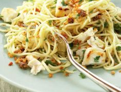 A really interesting take on a spaghetti dish, with simple and bold flavours that are surprising yet make perfect sense. A dose of chilli adds a freshness that brings the pasta to life. Sandwich Toaster, Cooking Appliances, Halibut, Spaghetti, Pasta, Perfect Sense, Dishes, Ethnic Recipes, Drink