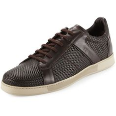 Ermenegildo Zegna Free Time Woven Leather Sneaker (2.520 RON) ❤ liked on Polyvore featuring men's fashion, men's shoes, men's sneakers and brown